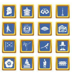 South korea icons set blue vector