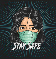 stay safe from coronavirus healthcare poster vector image