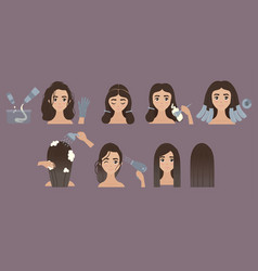 steps to change hair color hair styling ombre vector image