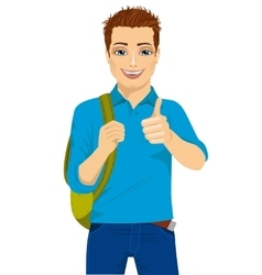 Student showing thumbs up hand sign vector