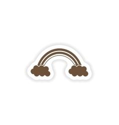 Stylish paper sticker on white background rainbow vector