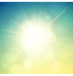 Summer background sun with lens flare vector
