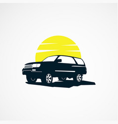 Suv car with sun logo designs concept for business vector