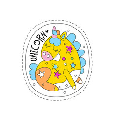 Sweet unicorn with closed eyes childish patch vector