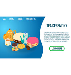Tea ceremony concept banner isometric style vector