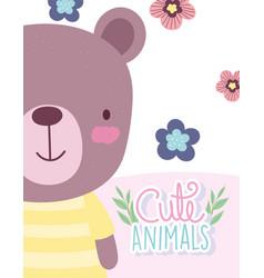 Teddy bear flowers cartoon cute animal characters vector
