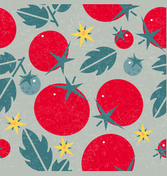 Tomato seamless pattern leaves flowers vector