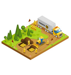 Toxic waste disposal isometric composition vector