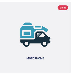 Two color motorhome icon from travel concept vector