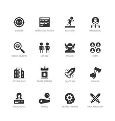 Video game genres icons set in glyph style 2 vector