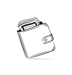 Wallet with dollars icon vector image vector image
