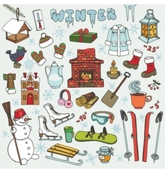 Winteer doodle iconselementsColored set vector