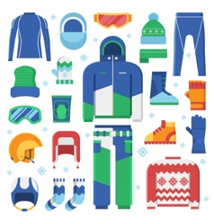 Winter Sports Clothes and Accessories Icons vector