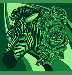 with cute zebra with roses vector image