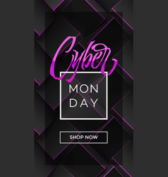 With cyber monday typography on dark geometry vector