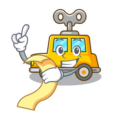 With menu cartoon clockwork toy car for gift vector