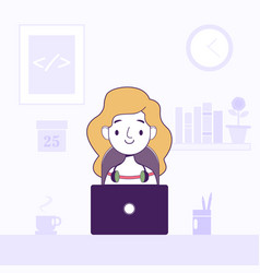 Women working laptop freelancer home workplace vector