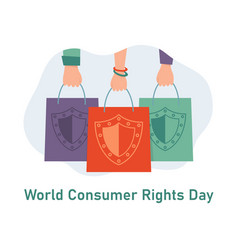 World consumer rights day hands with shopping vector