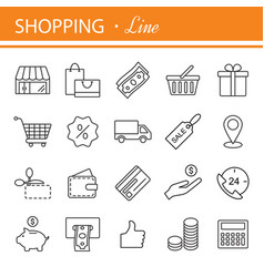 e-commerce outline web icons set vector image vector image