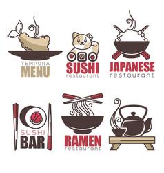 Sushi tempura ramen tea doodle cartoon logo vector
