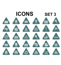 triangle metallic icons vector image vector image