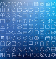 Universal GUI thin line icons set vector image