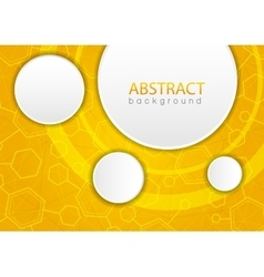 Abstract yellow background with hexagon vector image vector image
