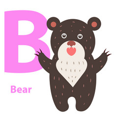 alphabet for children b letter bear cartoon icon vector image vector image