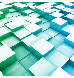 Blue brick wall with random height bricks vector image vector image