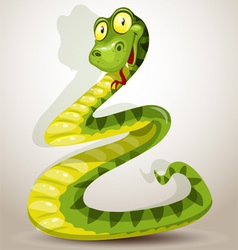 Funny green cheerful Snake vector image vector image