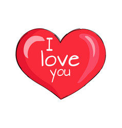 i love you inscription on red heart shape symbol vector image vector image