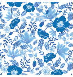 navy and denim blue textured spring flowers vector image vector image