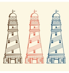 Retro lighthouses set vector image vector image