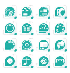 stylized internet computer and mobile phone icons vector image vector image