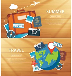 Summer and travel flat banner background template vector