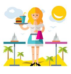 waitress flat style colorful cartoon vector image vector image