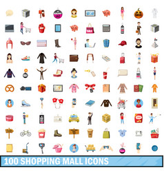 100 shopping mall icons set cartoon style vector image