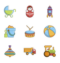 baby toys icons set cartoon style vector image vector image