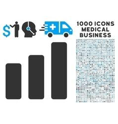 Bar Chart Increase Icon with 1000 Medical Business vector image