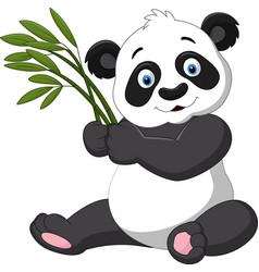 cute panda holding bamboo vector image vector image