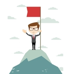 Man on the top holding flag vector image