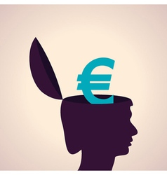 Thinking concept-Human head with euro symbol vector image