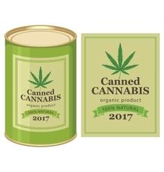 Tin can canned hemp and cannabis leaf vector