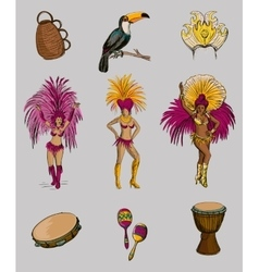 Brazilian Carnival hand drawn icon set vector image