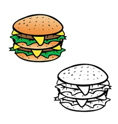 cheeseburger coloring book vector image