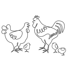 cock hen and chickens one line drawing design vector image vector image