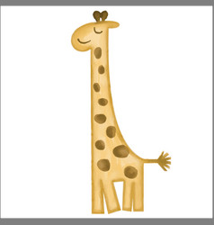 doodle watercolor hand drawn giraffe isolated on vector image