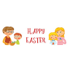 family happy easter banner vector image vector image