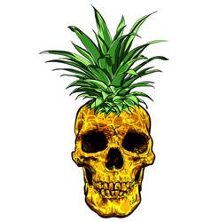 hand drawn skull fruit pineapple vector image