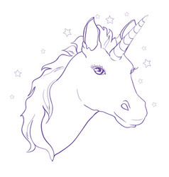 sketch unicorn hand drawn ink unicorn horse vector image vector image